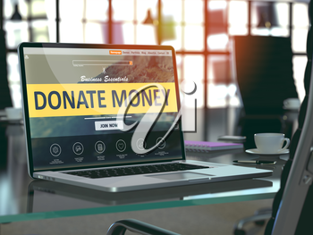 Donate Money Concept - Closeup on Laptop Screen in Modern Office Workplace. Toned Image with Selective Focus. 3D Render.