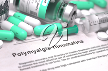 Polymyalgia Rheumatica - Printed Diagnosis with Mint Green Pills, Injections and Syringe. Medical Concept with Selective Focus. 3D Render.
