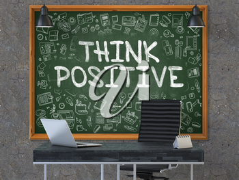 Green Chalkboard on the Dark Old Concrete Wall in the Interior of a Modern Office with Hand Drawn Think Positive. Business Concept with Doodle Style Elements. 3D.