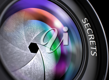Secrets Written on a Professional Photo Lens. Photographic Lens with Bright Colored Flares. Secrets Concept. Secrets - Concept on Lens of Camera, Closeup. 3D Render.