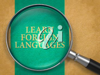 Learn Foreign Languages through Lens on Old Paper with Blue Vertical Line Background. 3D Render.
