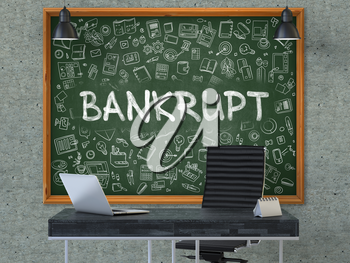 Green Chalkboard on the Gray Concrete Wall in the Interior of a Modern Office with Hand Drawn Bankrupt.  Business Concept with Doodle Style Elements. 3D.