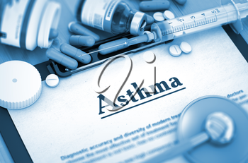 Asthma Diagnosis, Medical Concept. Composition of Medicaments. Asthma - Printed Diagnosis with Blurred Text. 3D.