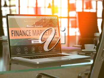 Finance Marketing Concept - Closeup on Laptop Screen in Modern Office Workplace. Toned Image with Selective Focus. 3D Render.