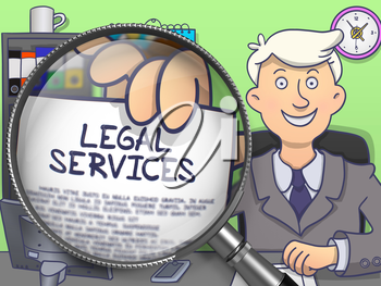 Legal Services. Business Man in Office Workplace Showing through Magnifier Paper with Inscription. Colored Doodle Illustration.