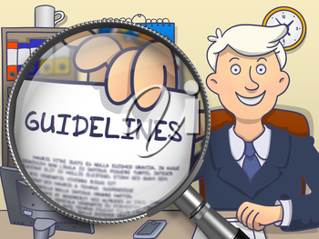 Guidelines on Paper in Businessman's Hand to Illustrate a Business Concept. Closeup View through Lens. Multicolor Modern Line Illustration in Doodle Style.