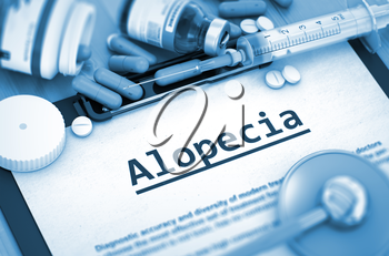 Diagnosis - Alopecia On Background of Medicaments Composition - Pills, Injections and Syringe. Alopecia - Printed Diagnosis with Blurred Text. 3D.