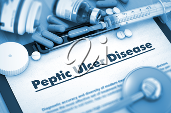 Peptic Ulcer Disease - Medical Report with Composition of Medicaments - Pills, Injections and Syringe. 3D.