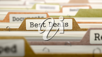 Folder in Colored Catalog Marked as Best Deals Closeup View. Selective Focus. 3D Render.