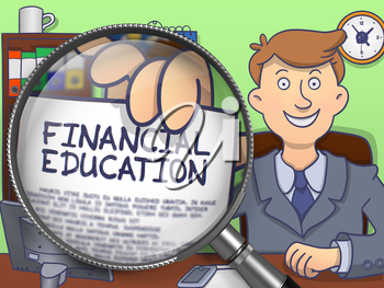 Financial Education through Lens. Business Man Showing Paper with Offer. Closeup View. Colored Doodle Style Illustration.