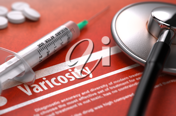 Varicosity - Printed Diagnosis with Blurred Text on Orange Background and Medical Composition - Stethoscope, Pills and Syringe. Medical Concept. 3D Render.