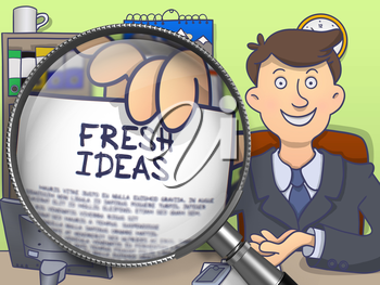 Businessman in Office Workplace Shows Paper with Text Fresh Ideas. Closeup View through Magnifying Glass. Multicolor Doodle Illustration.