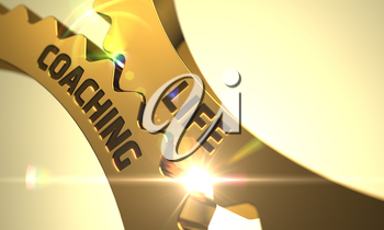 Life Coaching on the Mechanism of Golden Metallic Cogwheels. Life Coaching - Concept. Life Coaching on Mechanism of Golden Gears with Glow Effect. 3D Render.