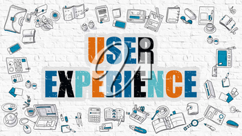 User Experience - Multicolor Concept with Doodle Icons Around on White Brick Wall Background. Modern Illustration with Elements of Doodle Design Style.
