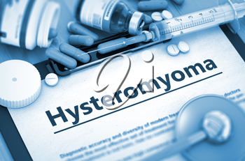 Hysteromyoma, Medical Concept with Selective Focus. Hysteromyoma - Printed Diagnosis with Blurred Text. Hysteromyoma Diagnosis, Medical Concept. Composition of Medicaments. Toned Image. 3D Rendering.