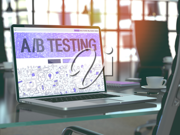Modern Workplace with Laptop Showing Landing Page in Doodle Design Style with Text AB Testing. Toned Image with Selective Focus. 3D Render.