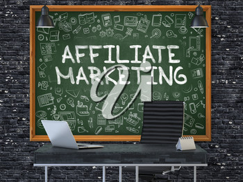 Green Chalkboard with the Text Affiliate Marketing Hangs on the Dark Brick Wall in the Interior of a Modern Office. Illustration with Doodle Style Elements. 3D.