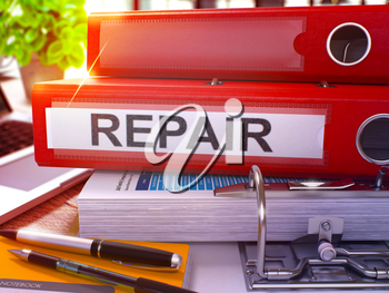 Repair - Red Ring Binder on Office Desktop with Office Supplies and Modern Laptop. Repair Business Concept on Blurred Background. Repair - Toned Illustration. 3D Render.