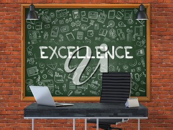 Excellence - Handwritten Inscription by Chalk on Green Chalkboard with Doodle Icons Around. Business Concept in the Interior of a Modern Office on the Red Brick Wall Background. 3D.