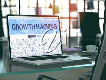 Growth Hacking Concept Closeup on Landing Page of Laptop Screen in Modern Office Workplace. Toned Image with Selective Focus. 3D Render.