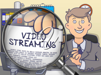 Video Streaming through Lens. Man Shows Text on Paper. Closeup View. Colored Doodle Illustration.