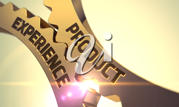 Product Experience - Industrial Design. Product Experience on Golden Cog Gears. Product Experience on the Mechanism of Golden Cog Gears with Lens Flare. Product Experience Golden Cog Gears. 3D Render.