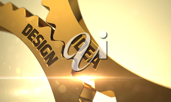 Idea Design - Technical Design. Idea Design - Illustration with Lens Flare. Idea Design on Golden Cogwheels. Idea Design - Concept. Idea Design on Mechanism of Golden Metallic Gears. 3D Render.