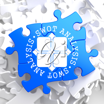 SWOT Analisis Written Arround Icon on Blue Puzzle. Business Concept.