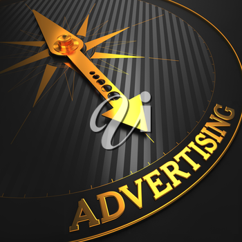 Advertising - Business Background. Golden Compass Needle on a Black Field Pointing to the Word Advertising. 3D Render.