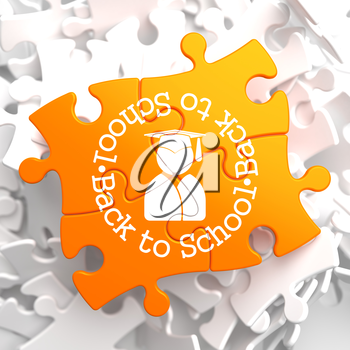 Back to School Written Arround Icon of Human Silhouette in Grad Hat on Orange Puzzle. Education Concept.