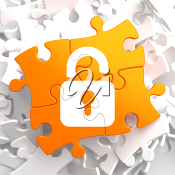 Security Concept - Icon of Opened Padlock - Located on Orange Puzzle.