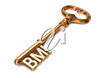 BMI- Body Mass Index - Golden Key on White Background. Health Concept.