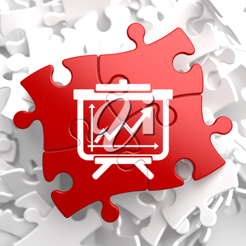Flipchart with Growth Chart Icon on Red Puzzle. Business Concept.