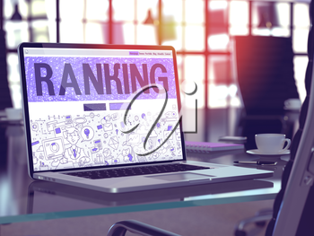 Ranking - Closeup Landing Page in Doodle Design Style on Laptop Screen. On Background of Comfortable Working Place in Modern Office. Toned, Blurred Image. 3D Render.
