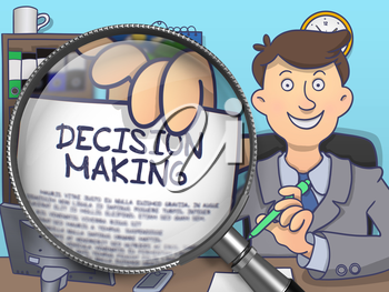 Officeman in Office Shows Text on Paper Decision Making. Closeup View through Magnifying Glass. Multicolor Doodle Illustration.