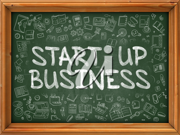 Green Chalkboard with Hand Drawn Start Up Business with Doodle Icons Around. Line Style Illustration.