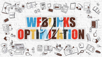 Weblinks Optimization Concept. Modern Line Style Illustration. Multicolor Weblinks Optimization Drawn on White Brick Wall. Doodle Icons. Doodle Design Style of  Weblinks Optimization  Concept.