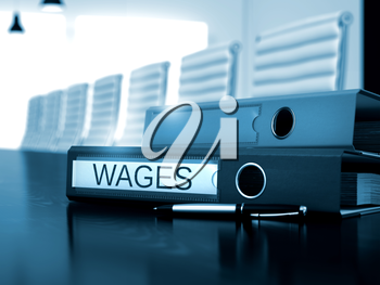 Wages - Office Binder on Working Black Desk. Office Binder with Inscription Wages on Table. Wages - Business Concept on Toned Background. Wages. Business Concept on Toned Background. 3D.