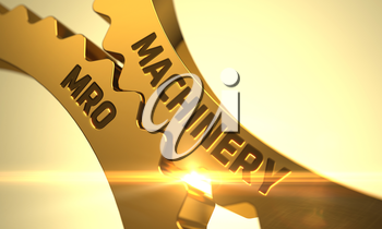 Machinery MRO - Illustration with Lens Flare. Golden Metallic Cog Gears with Machinery MRO Concept. Machinery MRO on Mechanism of Golden Metallic Gears with Lens Flare. 3D.
