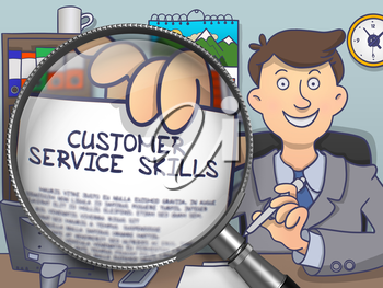 Business Man Sitting in Office and Shows Concept on Paper Customer Service Skills. Closeup View through Magnifying Glass. Multicolor Modern Line Illustration in Doodle Style.