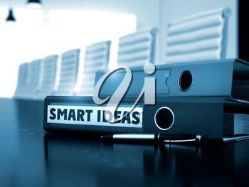 Smart Ideas - Business Concept on Toned Background. Folder with Inscription Smart Ideas on Table. Smart Ideas. Business Concept on Toned Background. 3D Render.