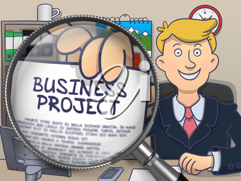 Business Project. Businessman Showing a Paper with Concept through Magnifying Glass. Multicolor Doodle Illustration.