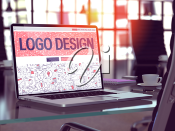 Logo Design Concept Closeup on Landing Page of Laptop Screen in Modern Office Workplace. Toned Image with Selective Focus. 3D Render.
