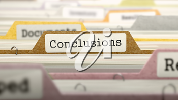 Conclusions - Folder Register Name in Directory. Colored, Blurred Image. Closeup View. 3D Render.
