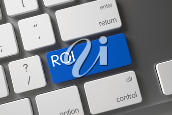 ROI on Modern Laptop Keyboard Background. Computer Keyboard with the words ROI on Blue Key. ROI Key on Modernized Keyboard. Blue ROI Key on Keyboard. 3D.