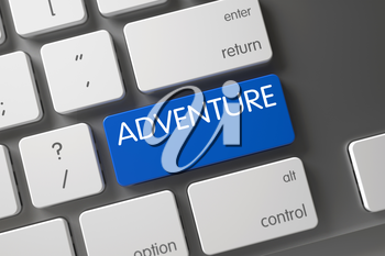 Adventure Concept Modernized Keyboard with Adventure on Blue Enter Button Background, Selected Focus. Key Adventure on Modern Laptop Keyboard. Adventure on Metallic Keyboard Background. 3D.
