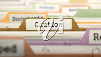 File Folder Labeled as Caution in Multicolor Archive. Closeup View. Blurred Image. 3D Render.