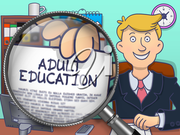 Adult Education on Paper in Business Man's Hand through Magnifying Glass to Illustrate a Education Concept. Multicolor Doodle Illustration.