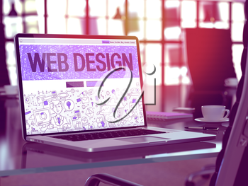 Web Design Concept. Closeup Landing Page on Laptop Screen in Doodle Design Style. On Background of Comfortable Working Place in Modern Office. Blurred, Toned Image. 3D Render.