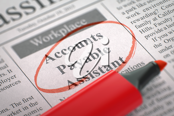 Accounts Payable Assistant - Vacancy in Newspaper, Circled with a Red Highlighter. Blurred Image with Selective focus. Job Search Concept. 3D Render.